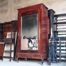 Antigüedades - Armario antiguo con espejo estilo modernista. Armario ropero estilo rústico armario estilo art decó. - 136523990