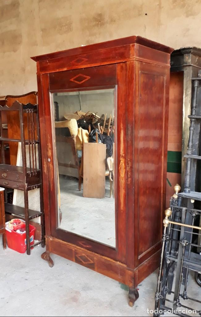 Antigüedades: Armario antiguo con espejo estilo modernista. Armario ropero estilo rústico armario estilo art decó. - Foto 5 - 136523990