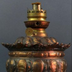Antigüedades: QUINQUÉ ESPAÑOL EN CALAMINA PATINADA ESPAÑOL HACIA 1900. Lote 136555086