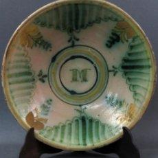 Antigüedades: PLATO HONDO EN CERÁMICA DE PUENTE DEL ARZOBISPO HACIA 1900. Lote 136571290
