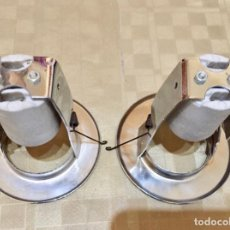 Antigüedades: 2 PORT/LAMP EMPOTRABLES,ACERO INOX / 85 M/M Ø EXT./50 M/M Ø INT./FONDO 95 M/M.CASQUILLO CERAMICO. Lote 136611526