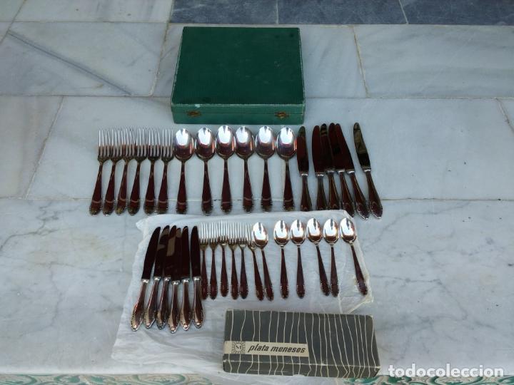 Antigüedades: Magnífica cubertería plata Meneses ( metal plateado ) seis comensales años 60 - Foto 3 - 136634358