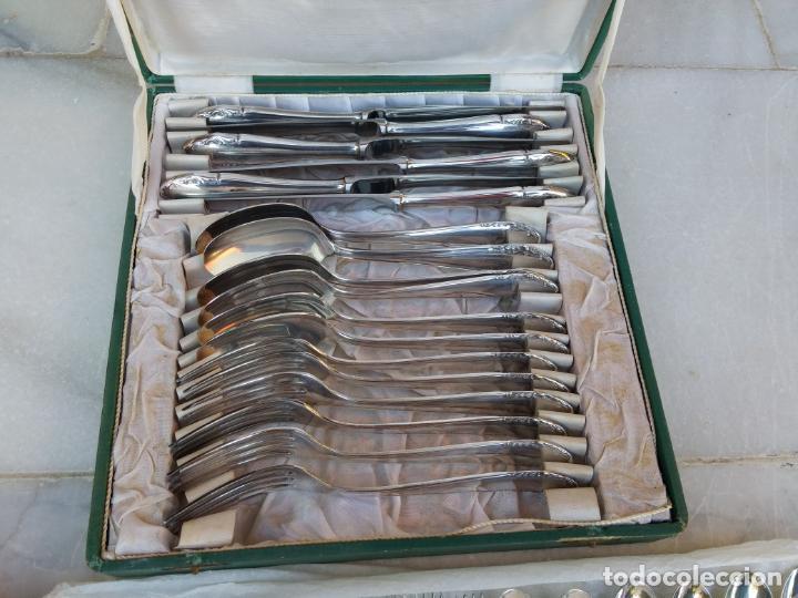 Antigüedades: Magnífica cubertería plata Meneses ( metal plateado ) seis comensales años 60 - Foto 5 - 136634358