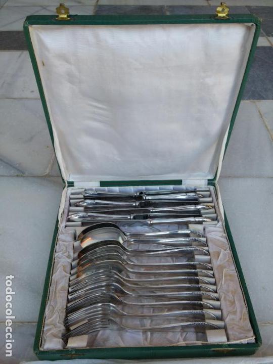 Antigüedades: Magnífica cubertería plata Meneses ( metal plateado ) seis comensales años 60 - Foto 6 - 136634358