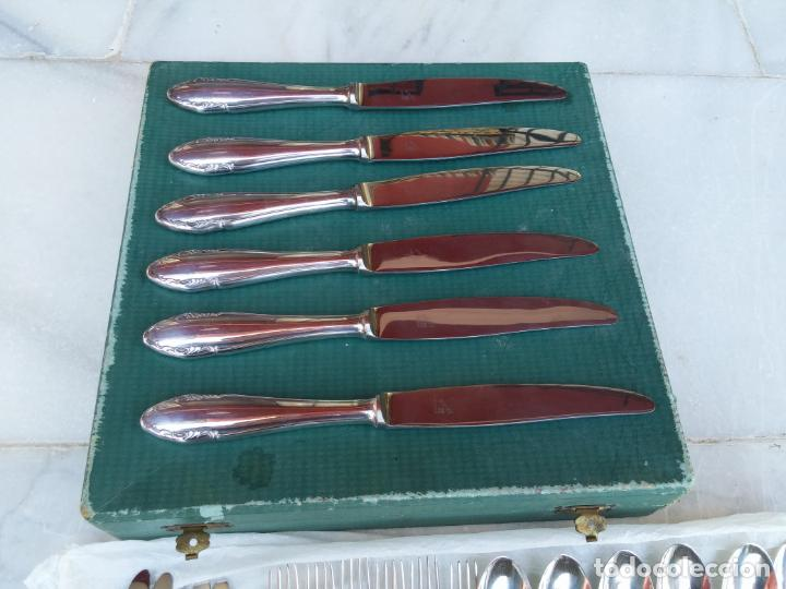 Antigüedades: Magnífica cubertería plata Meneses ( metal plateado ) seis comensales años 60 - Foto 7 - 136634358