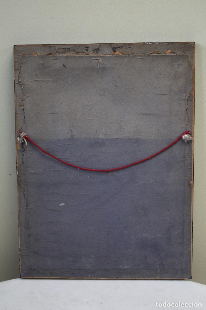 Antigüedades: ANTIGUO CUADRO RELIGIOSO, VIRGEN CON CRISTO DE COBRE PLATEADO Y REPUJADO. FIRMADO, MORERA. - Foto 9 - 136635334