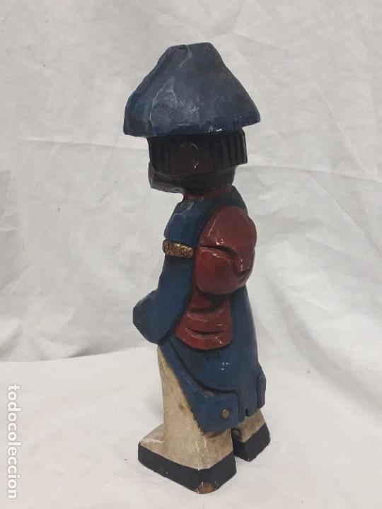 Antigüedades: Antigua talla de madera policromada soldado francés Napoleónico - Foto 4 - 136655006