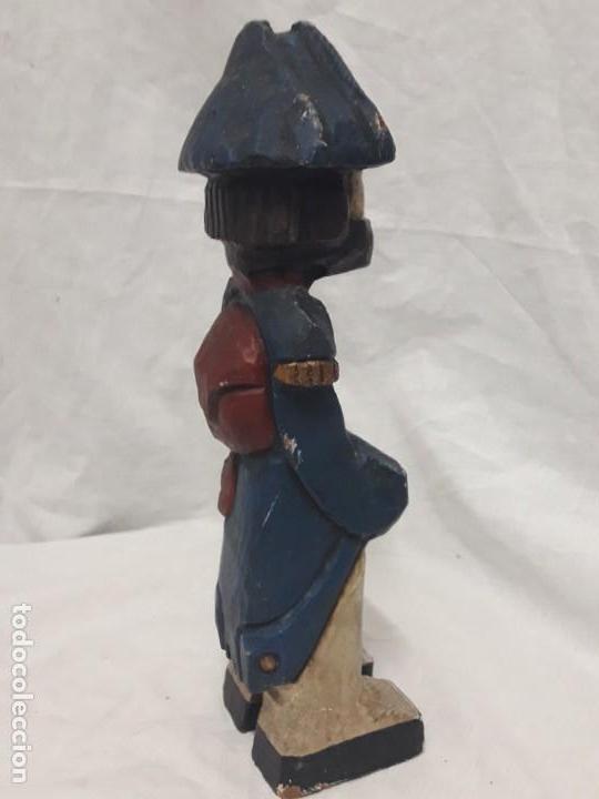 Antigüedades: Antigua talla de madera policromada soldado francés Napoleónico - Foto 6 - 136655006