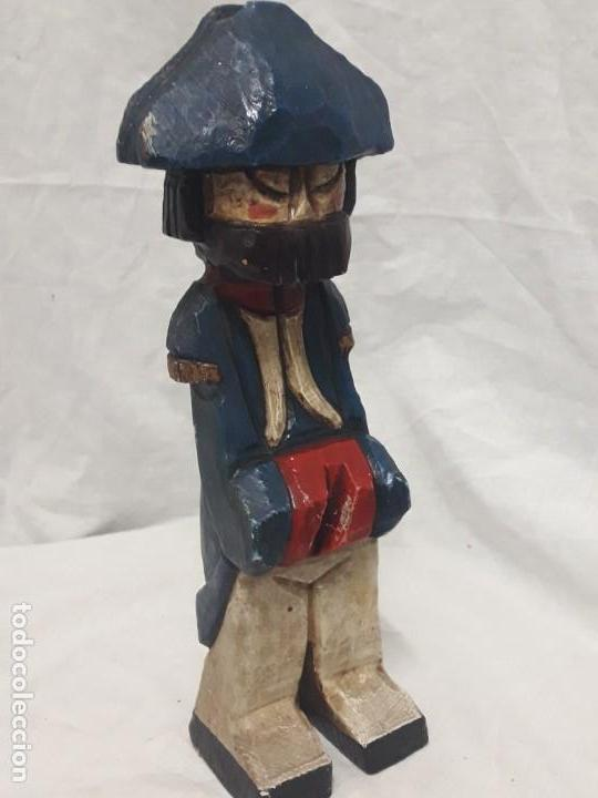 Antigüedades: Antigua talla de madera policromada soldado francés Napoleónico - Foto 7 - 136655006