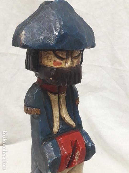 Antigüedades: Antigua talla de madera policromada soldado francés Napoleónico - Foto 8 - 136655006