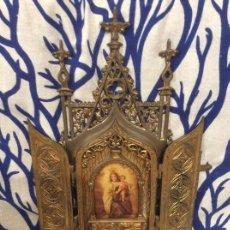 Antigüedades: ANTIGUA CAPILLA DE BRONCE VIRGEN DEL CARMEN CON PUERTAS. PESA MAS DE 4 KG.. Lote 136655282