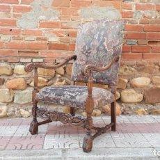 Antigüedades: SILLÓN ANTIGUO ESTILO LUIS XIII, BUTACA ANTIGUA ESTILO RÚSTICO RENACIMIENTO SILLÓN ESTILO LUIS XIV. Lote 136655414