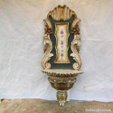 Antigüedades: PEANA , MÉNSULA TALLADA MADERA NOBLE PARA IMAGEN RELIGIOSA. CON REPALDO. Lote 136668262