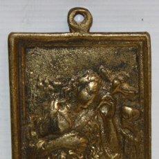 Antigüedades: PLACA DEVOCIONARIA DE MARIA MAGDALENA PENITENTE EN BRONCE. PRINCIPIOS SIGLO XIX. Lote 136685882
