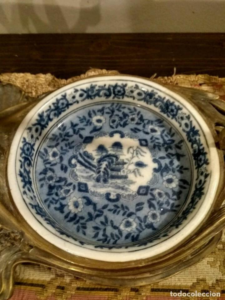 Antigüedades: IMPRESIONANTE CENTRO DE MESA - METAL PORCELANA - ESTILO ART NOUVEAU - SELLO EN BASE.. - Foto 6 - 136758778