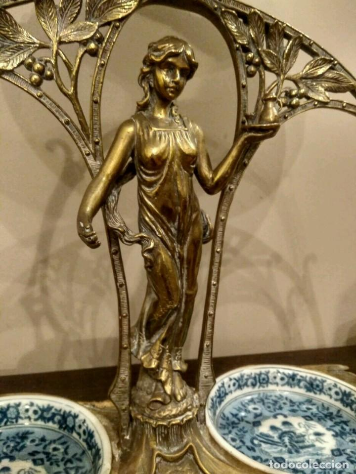 Antigüedades: IMPRESIONANTE CENTRO DE MESA - METAL PORCELANA - ESTILO ART NOUVEAU - SELLO EN BASE.. - Foto 11 - 136758778