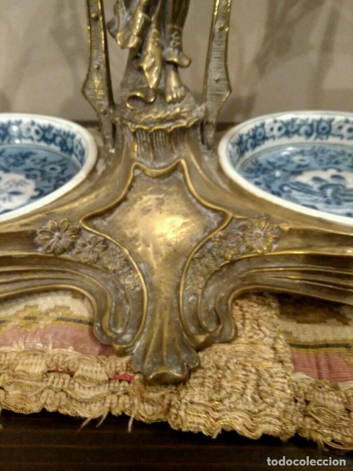 Antigüedades: IMPRESIONANTE CENTRO DE MESA - METAL PORCELANA - ESTILO ART NOUVEAU - SELLO EN BASE.. - Foto 13 - 136758778