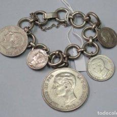 Antigüedades: PULSERA DE PLATA DE MONEDAS DE ALFONSO XII. Lote 136772698