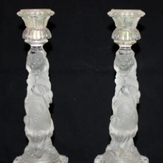 Antigüedades: PRECIOSOS CANDELABROS DE CRISTAL DE BACCARAT (LEONES) SG XIX. 4.400 GRAMOS.. Lote 136800454