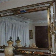 Antigüedades: ESPEJO CRISTAL Y METAL DORADO. Lote 136803618