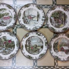 Antigüedades: COLECCION 6 PLATOS PORCELANA JOHNSON BROS. THE FRIENDLY VILLAGE.. Lote 136811762