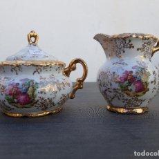 Antigüedades: AZUCARERO Y LECHERA EN PORCELANA. Lote 136814250