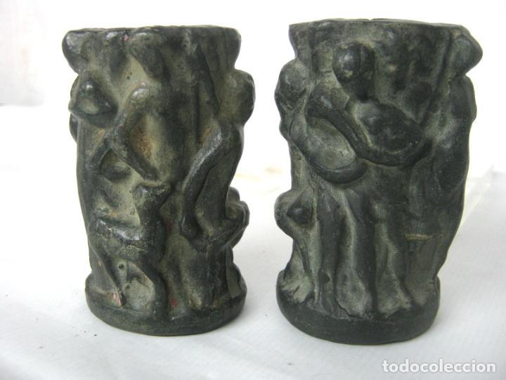 PAREJA DE JARRONES NOUCENTISTAS EN TERRACOTA - MODERNISMO CATALAN 1900/20 OLOT (Antigüedades - Hogar y Decoración - Floreros Antiguos)