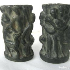 Antigüedades: PAREJA DE JARRONES NOUCENTISTAS EN TERRACOTA - MODERNISMO CATALAN 1900/20 OLOT. Lote 136851382