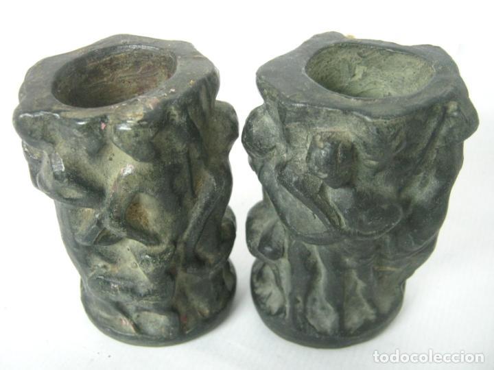 Antigüedades: Pareja de jarrones noucentistas en terracota - modernismo catalan 1900/20 Olot - Foto 4 - 136851382