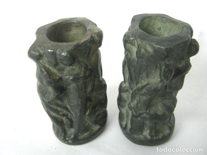 Antigüedades: Pareja de jarrones noucentistas en terracota - modernismo catalan 1900/20 Olot - Foto 5 - 136851382