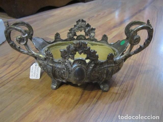 Antigüedades: Jardinera modernista en metal plateado, con marcas en el interior. 26,5 x 11 x 12 cms. altura. - Foto 3 - 41774658