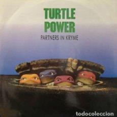 Discos de vinilo: PARTNERS IN KRYME - TURTLE POWER - MAXI SINGLE DE 12 PULGADAS DE VINILO. Lote 137111774