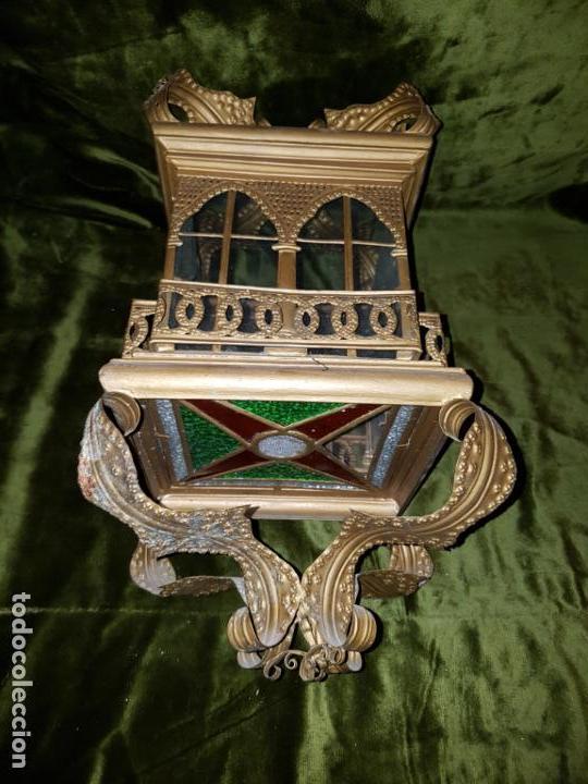 Antigüedades: FAROL DE LATA SEVILLANO DEL SIGLO XIX - Foto 2 - 137160502