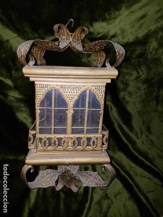 Antigüedades: FAROL DE LATA SEVILLANO DEL SIGLO XIX - Foto 8 - 137160502