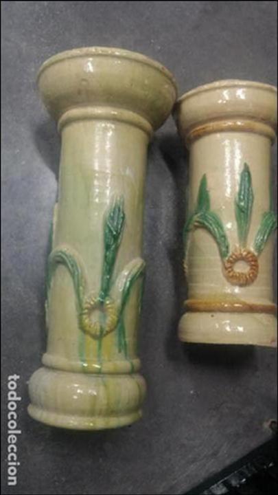 Especie de maceteros antiguos, muy pesados hechos como en cerámica de teja, usado segunda mano