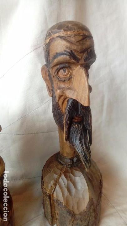 Antigüedades: Don Quijote y Sancho Panza Bustos de madera - Foto 2 - 137119178