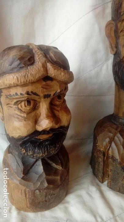 Antigüedades: Don Quijote y Sancho Panza Bustos de madera - Foto 3 - 137119178
