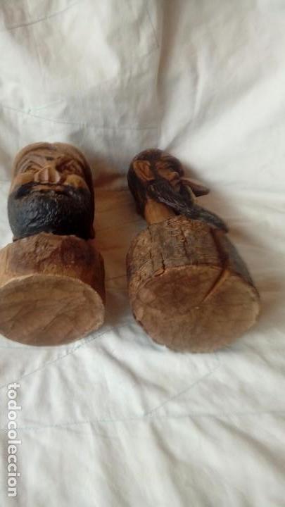 Antigüedades: Don Quijote y Sancho Panza Bustos de madera - Foto 4 - 137119178