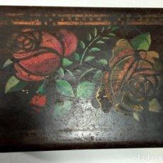 Antigüedades: ANTIGUA CAJA DE MADERA HECHA Y PINTADA A MANO. Lote 137197586