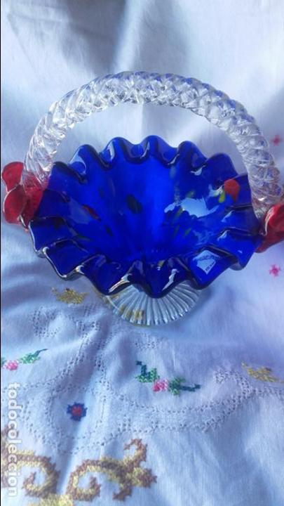 Antigüedades: Cesto cristal Murano - Foto 2 - 137201002