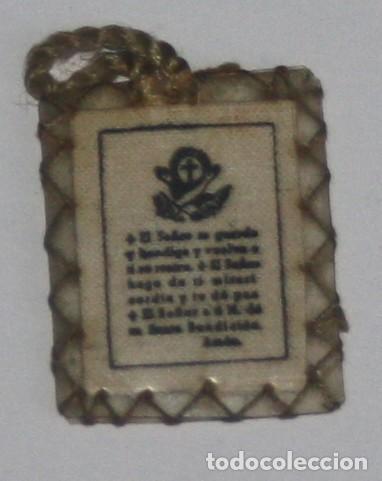 Antigüedades: Escapulario con oración San Francisco años 50 - Foto 2 - 137234062