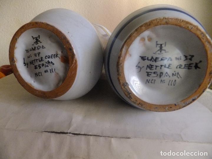 Antigüedades: 2 albarelo tarro bote farmacia Talavera. con escudo monjes jerónimos y farmaceúticos,nombre droga - Foto 6 - 137260874