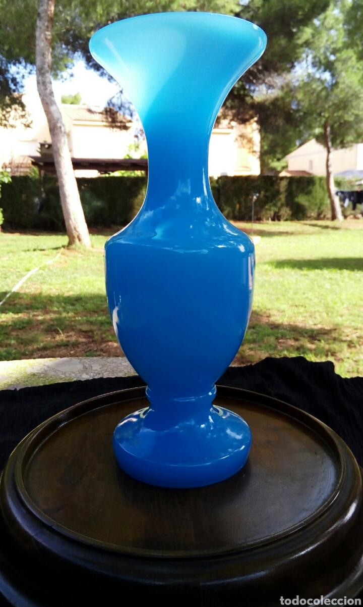 Antigüedades: Opalina de cristal de Murano. Azul celeste. Con sello de autenticidad. Años 1960 - Foto 2 - 118665314