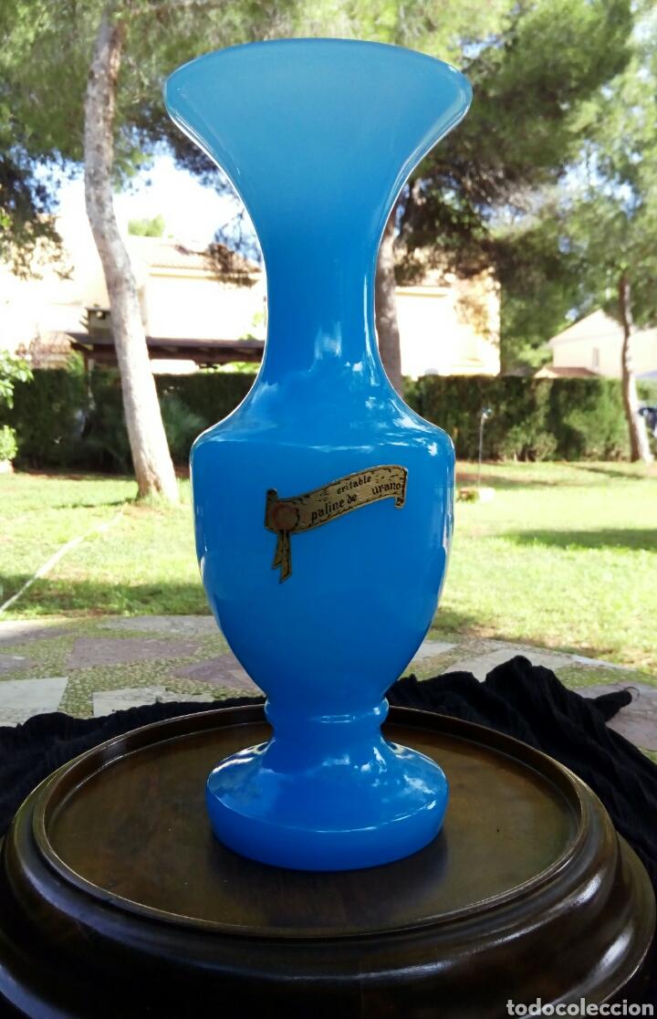 Antigüedades: Opalina de cristal de Murano. Azul celeste. Con sello de autenticidad. Años 1960 - Foto 3 - 118665314