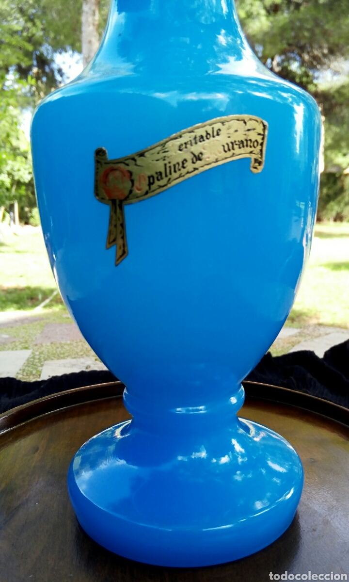 Antigüedades: Opalina de cristal de Murano. Azul celeste. Con sello de autenticidad. Años 1960 - Foto 4 - 118665314
