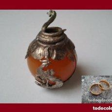 Antigüedades: FIGURA ZODIACAL DE PLATA TIBEBANA LA SERPIENTE CON ESFERA MINERAL. REGALO DE UN PAR DE ANILLOS.. Lote 137327997