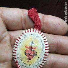 Antigüedades: DETENTE BALA -DETENTE AQUI ESTA EL CORAZON DE JESUS .- ESCAPULARIO. Lote 137334690