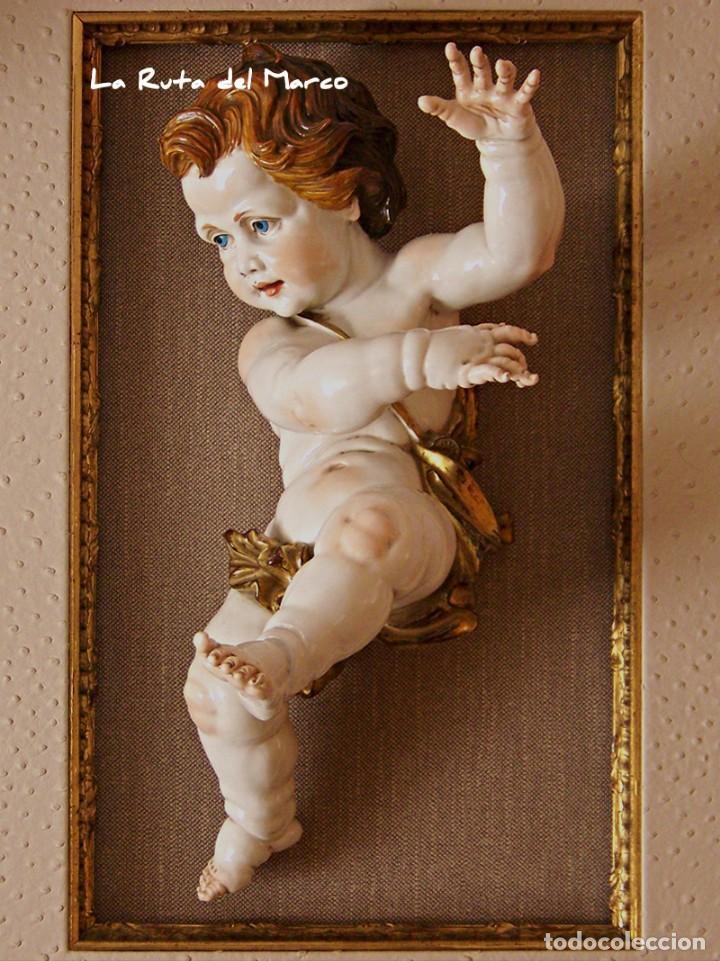 Antigüedades: Algora - Ángel 45 cm - Cuadro en relieve con querubín de cerámica - Foto 2 - 137335142