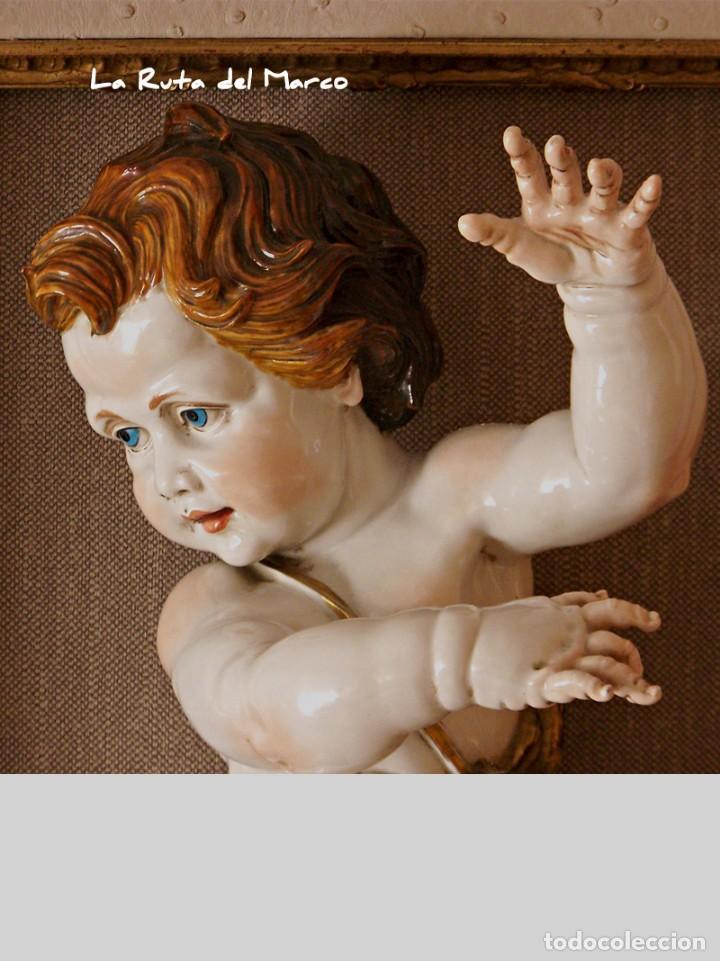 Antigüedades: Algora - Ángel 45 cm - Cuadro en relieve con querubín de cerámica - Foto 3 - 137335142
