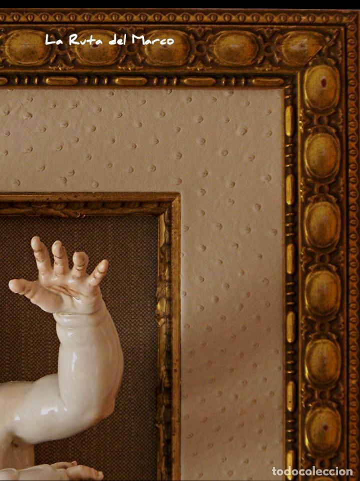 Antigüedades: Algora - Ángel 45 cm - Cuadro en relieve con querubín de cerámica - Foto 4 - 137335142